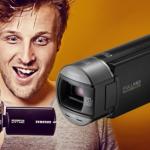 Een Samsung HMX-Q100 camcorder inclusief draagtasje en geheugenkaart met 43% korting