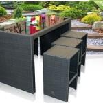 De tuin-barset 7PCS Budapest Black Rattan/Alu met hoge tafel en 6 krukken met 52% korting