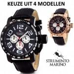4 modellen (SM051L BK/BK, SM051L BR/BK, SM051L RG/BK, SM051L SS/BK) van Strumento Marino Baia XL horloge met 67% korting