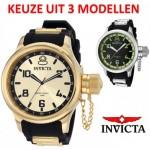 3 verschillende Invicta Russian Diver Horloges (1440, 1438, 1433) met 83% korting