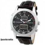 Een Lambretta Luigi Racing Leather Black XL herenhorloge met 60% korting