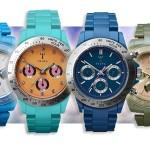Triwa horloges in verschillende kleuren en modellen (Corniche Chrono, Cedar Minichrono, Khaki Chrono, Chekka Chrono) met 50% korting