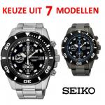 Masculiene, sportieve herenhorloges van Seiko in zeven verschillende varianten met grote korting